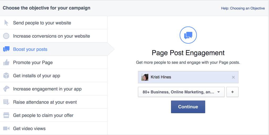 Facebook ads interface