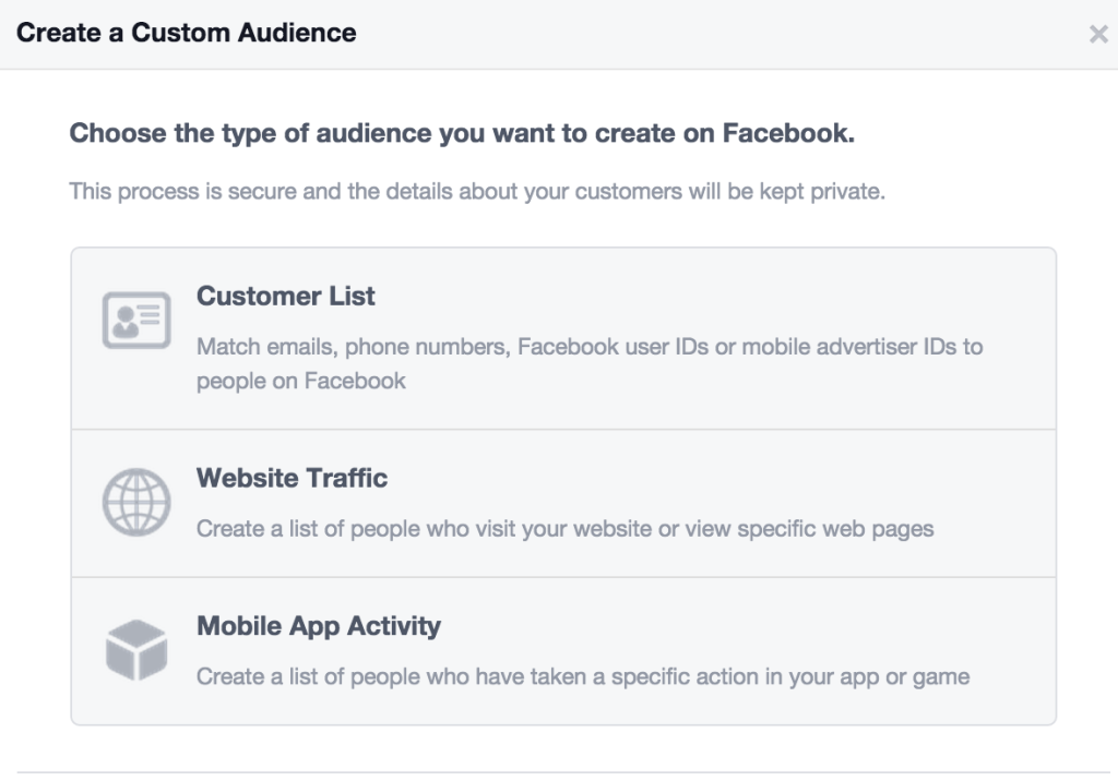 promote posts with facebook custom audience