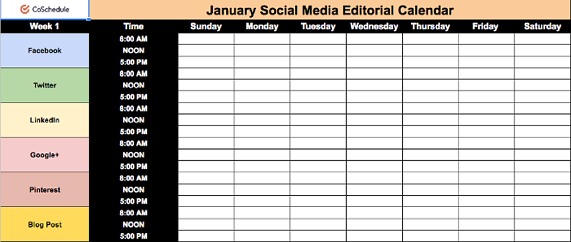 If You Need A Social Media Calendar Template Can Grab One Free Here Hosted Via Public Google Sheets File S What It Looks Like