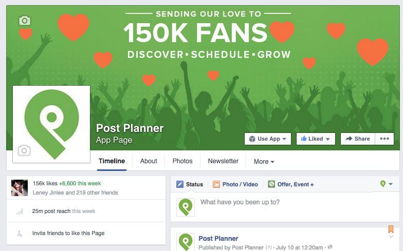 The Post Planner Page as an example of Facebook presence