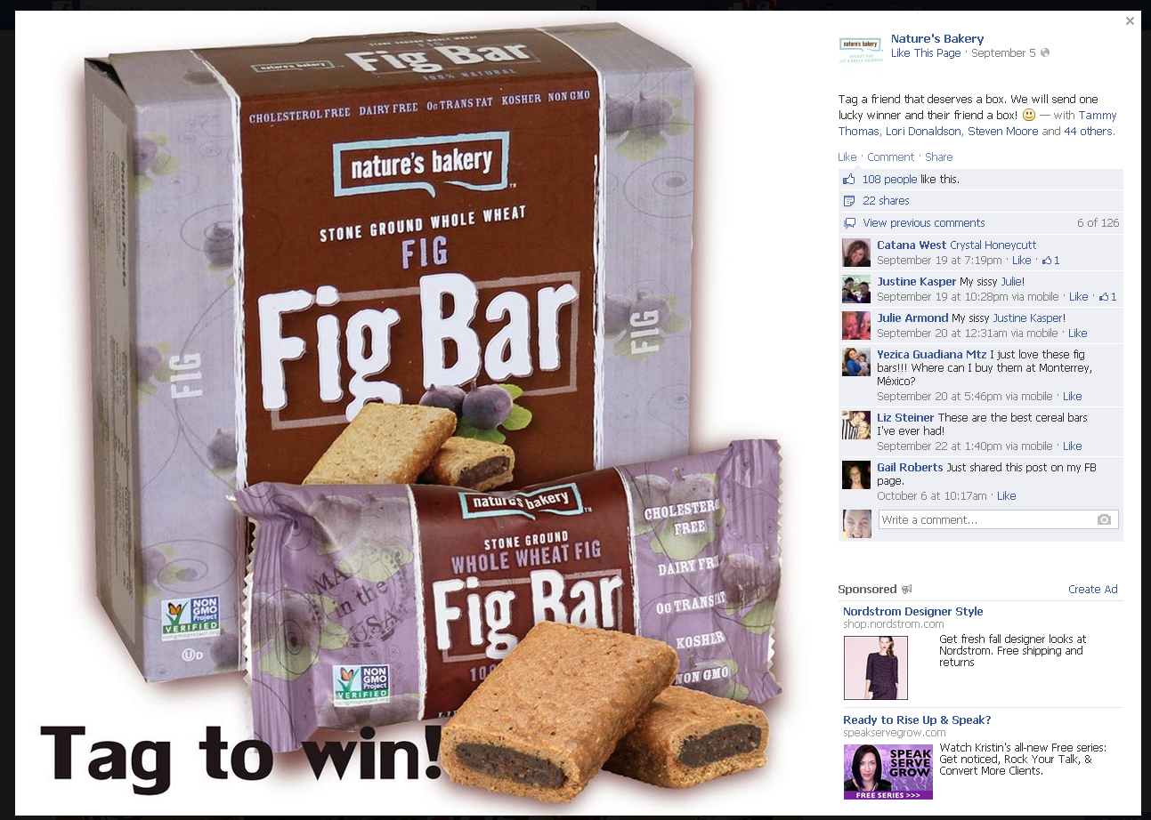 natures bakery facebook tag contest