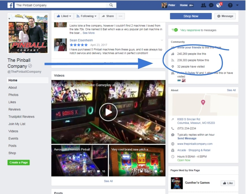 Screenshot of The Pinball Companys Facebook Page
