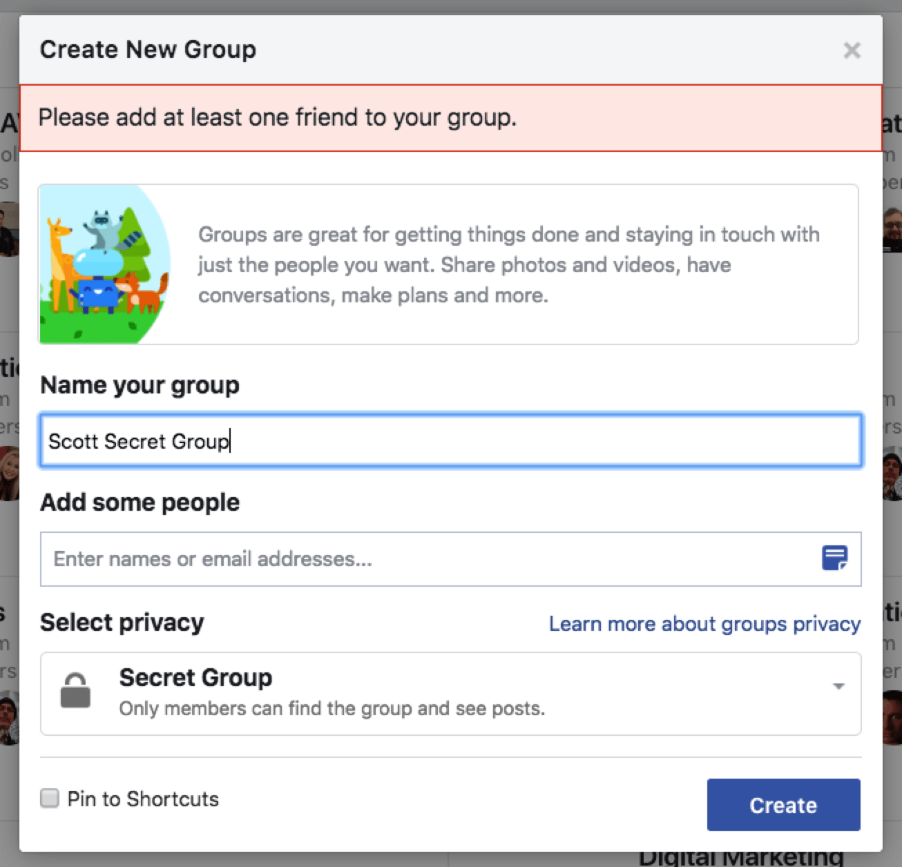 How to create private group chat in facebook