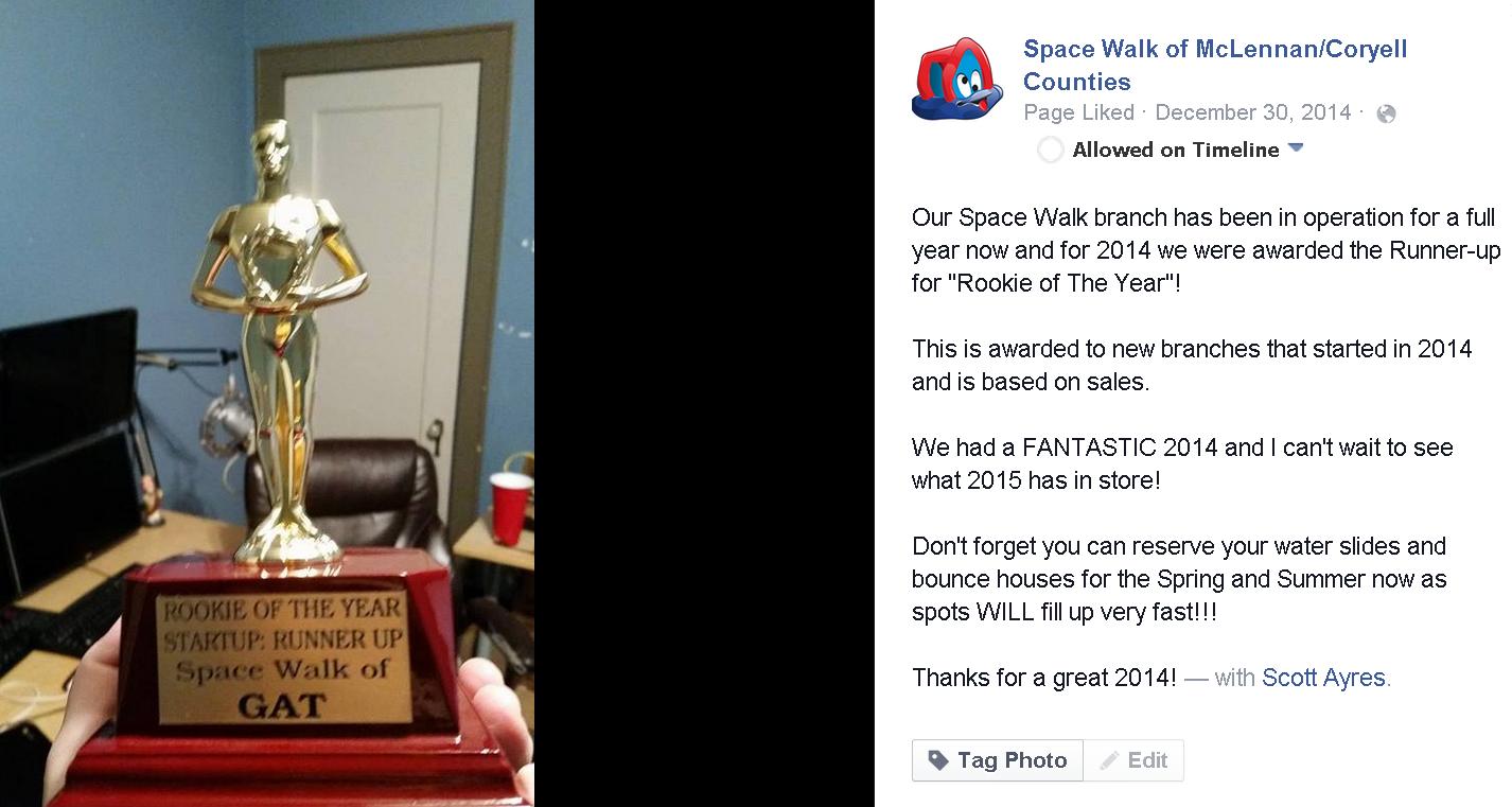 A bounce house award for Scott Ayres.