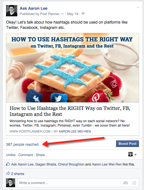Organic Facebook reach: example 6