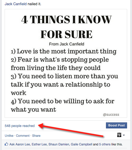 Organic Facebook reach: example 5