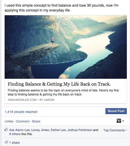 Organic Facebook reach: Example 9