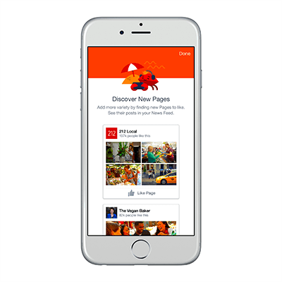 Facebook update - discover Pages to follow (graphic)