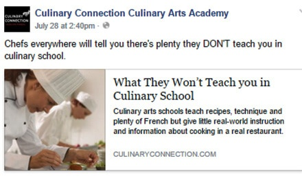 Facebook posting strategy: Culinary Arts School